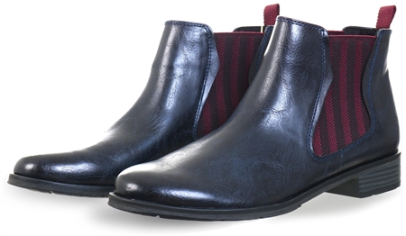 Marco Tozz Navy Flat Slip On Chelsea Boot  - Click to view a larger image