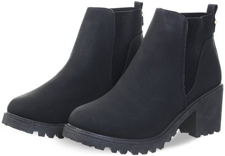 Krush Black Pu Chunky Slip On Heeled Boot  - Click to view a larger image
