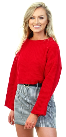 Qed Red Knit Crop Jumper  - Click to view a larger image