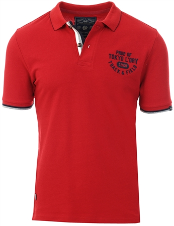 Tokyo Laundry Red Dahlia Herstmonceux Cotton Pique Polo Shirt  - Click to view a larger image