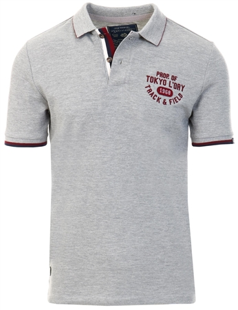 Tokyo Laundry Grey Herstmonceux Cotton Pique Polo Shirt  - Click to view a larger image