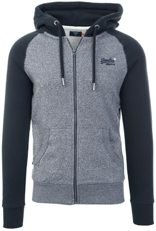 Superdry Rich Navy Mega Grit Orange Label Classic Raglan Zip Hoodie  - Click to view a larger image