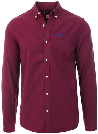 Superdry Burgundy Mini Grid Classic University Oxford Shirt  - Click to view a larger image