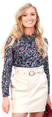 Cutie London Black Floral Pleated High Neck Top  - Click to view a larger image