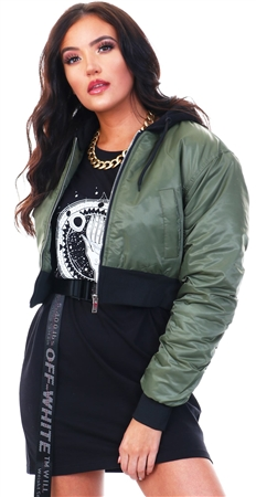 Brave Soul Khaki Arlo Cropped Bomber Jacket  - Click to view a larger image