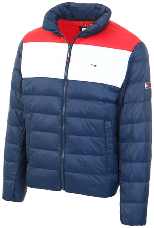 Tommy Jeans Twilight Navy / Multi Colour-Blocked Down-Filled Jacket  - Click to view a larger image