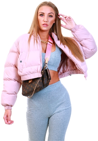 Brave Soul Dusty Pink Cropped Puffer Jacket  - Click to view a larger image