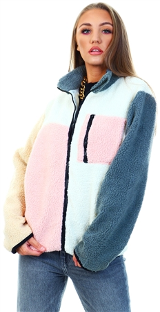 Daisy St Multi Block Coloured Teddy Coat  - Click to view a larger image