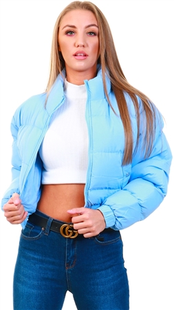 Brave Soul Pale Blue Cropped Puffer Jacket  - Click to view a larger image