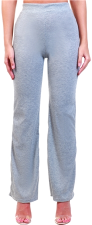 Club L Grey Rib Flared High Waist Trouser  - Click to view a larger image