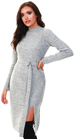 Urban Bliss Grey Jil Belted Grey Midi Dress  - Click to view a larger image