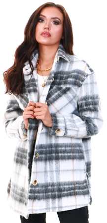 Pieces White / Grey Checked Long Shacket  - Click to view a larger image