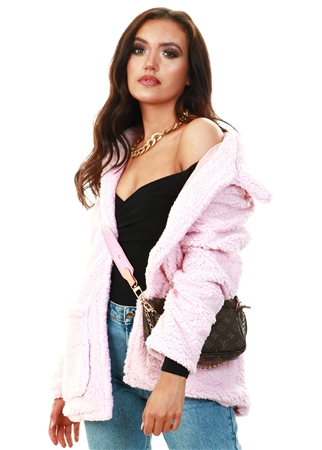 Brave Soul Pale Pink Heavenly Fur Jacket  - Click to view a larger image