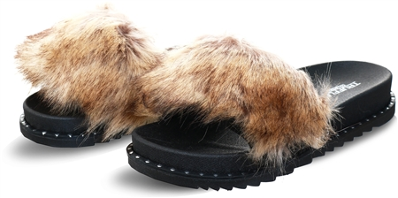 Truffle Mocha Faux Fur Slider  - Click to view a larger image