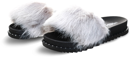 Truffle Grey / Black Faux Fur Slider  - Click to view a larger image