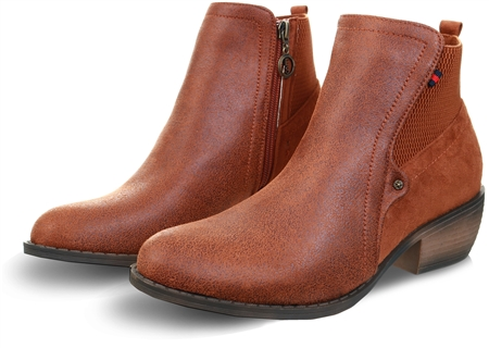 Escape Brown Western Style Suede Ankle Boot  - Click to view a larger image