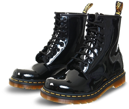 Dr Martens Black 1460 Patent Leather Ankle Boots  - Click to view a larger image