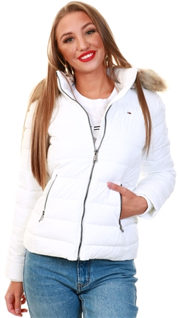 Tommy Jeans White Faux Fur Trimmed Down Fitted Jacket  - Click to view a larger image