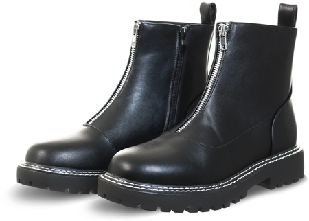 Krush Black Pu Zip Up Boot  - Click to view a larger image