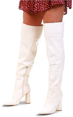 Public Desire Hometown Bone Croc Over The Knee Heeled Boots  - Click to view a larger image