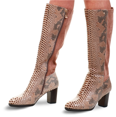 Zanni Tan Snake Print Knee High Boot  - Click to view a larger image