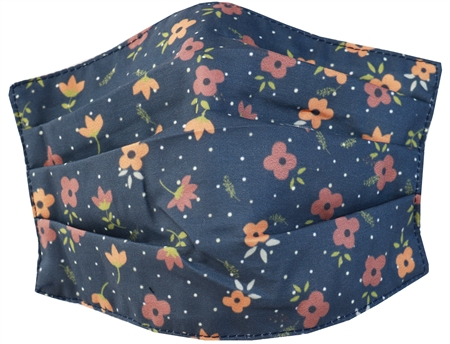 Brave Soul Navy Floral Fashion Woven Mask  - Click to view a larger image