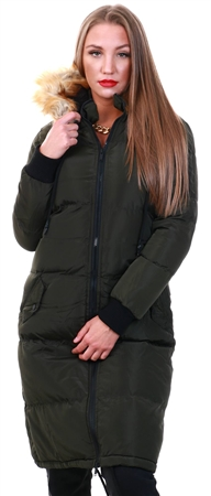 Brave Soul Khaki / Natural Marcello Long Puffer Jacket  - Click to view a larger image