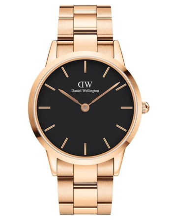 Daniel Wellington Rose Gold Black Iconic Link 40mm  - Click to view a larger image