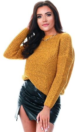 Only Golden Glow Loose Knitted Pullover  - Click to view a larger image