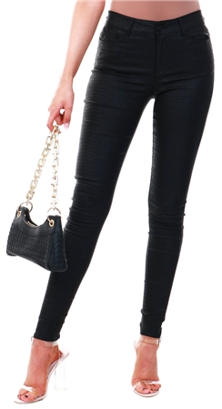 Veromoda Black Vmseven Snake Embossed Trousers  - Click to view a larger image