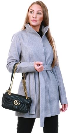 Vila Grey / Light Grey Melange Belted Button Front Coat  - Click to view a larger image