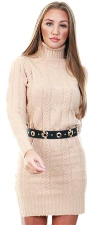 Brave Soul Light Camel Polo Neck Knit Jumper Dress  - Click to view a larger image