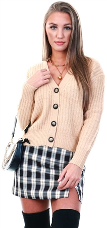 Brave Soul Beige Knitted Cardigan  - Click to view a larger image