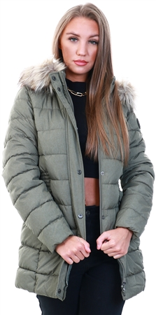 Only Green / Deep Lichen Green Long Quilted Jacket  - Click to view a larger image
