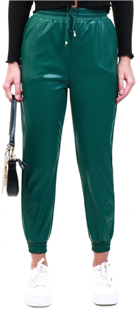 Ax Paris Green Faux Leather Joggers  - Click to view a larger image