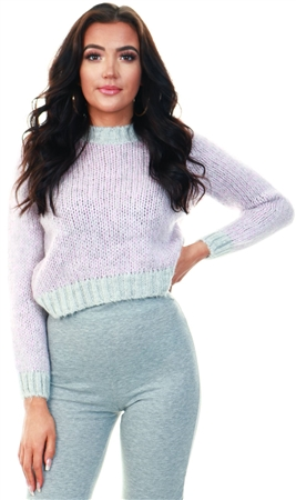 Only Purple / Elderberry High Neck Knitted Pullover  - Click to view a larger image
