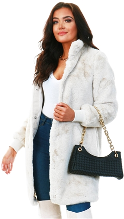 Veromoda Grey / Oatmeal Faux Fur Jacket  - Click to view a larger image