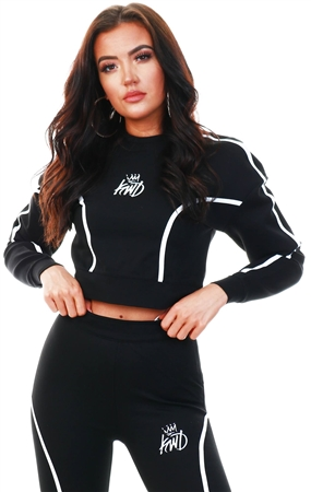 Kings Will Dream Black Cropped Branded Sweater  - Click to view a larger image