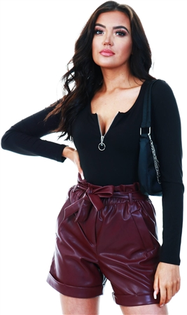 Veromoda Fig Coated Shorts  - Click to view a larger image