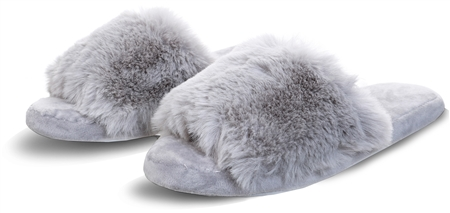 Krush Grey Faux Fur Fluffy Slider  - Click to view a larger image