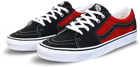 Vans Black/Chili Pepper Leather Sk8-Low Shoes  - Click to view a larger image