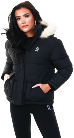 Gym King Black Fur Quilted Parka  - Click to view a larger image