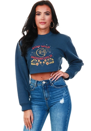 Daisy St Navy Marl Cropped Printed Sweater  - Click to view a larger image