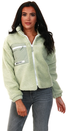 Tokyo Laundry Green Short Fleece Jacket  - Click to view a larger image