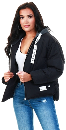 Tokyo Laundry Black Hooded Short Coat  - Click to view a larger image
