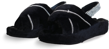 Public Desire Black Baby Girl Fluffy Strap Back Sliders  - Click to view a larger image