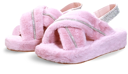 Public Desire Baby Pink Baby Girl Fluffy Strap Back Sliders  - Click to view a larger image