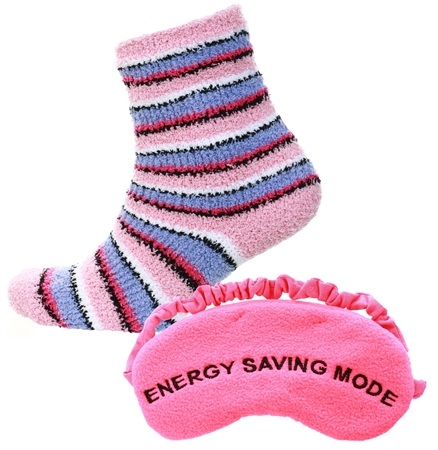 Brave Soul Pink /Lilac Stripe Socks With Eye Mask Set  - Click to view a larger image