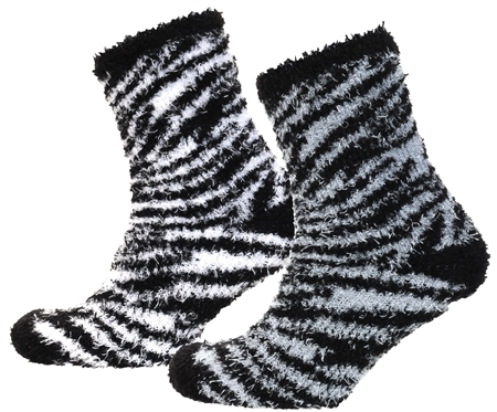 Brave Soul White / Black Zebra 2 Pack Fluffy Socks  - Click to view a larger image