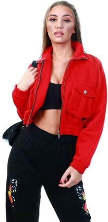 Vivichi Red Linda Utility Pocket Thick Cropped Jacket  - Click to view a larger image